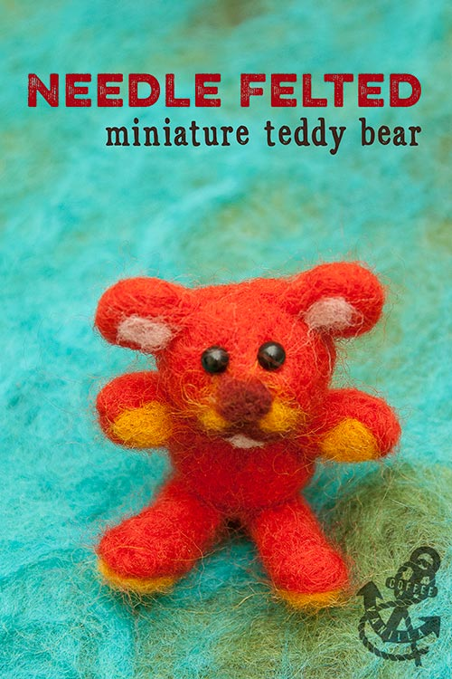 needle felted miniature teddy bear felt felting wool tops merino fibres
