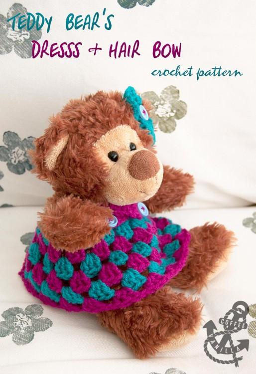 tea party dress teddy bear doll toy outfit DIY crochet