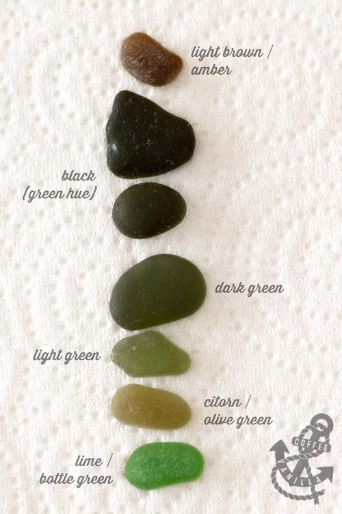 brownish greenish black sea glass colors