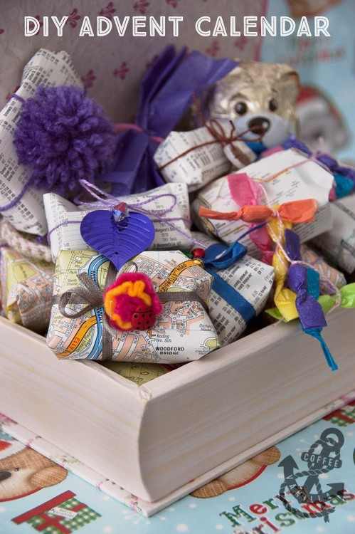 advent calendar ideas and gift wrapping with recycled books and maps