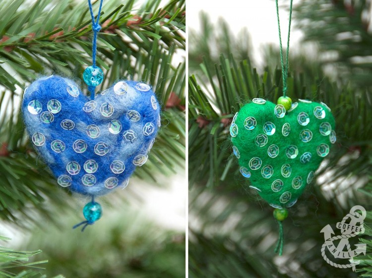 dry felted christmas tree decorations
