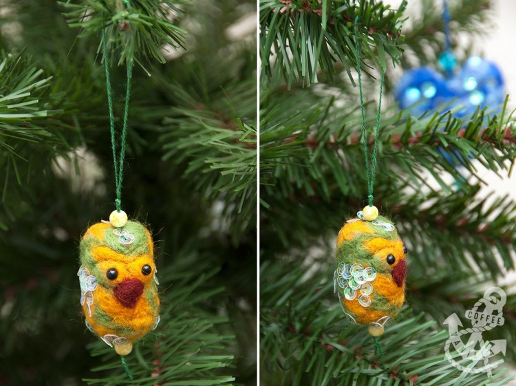 needle felted parrot decoration ornament gift idea