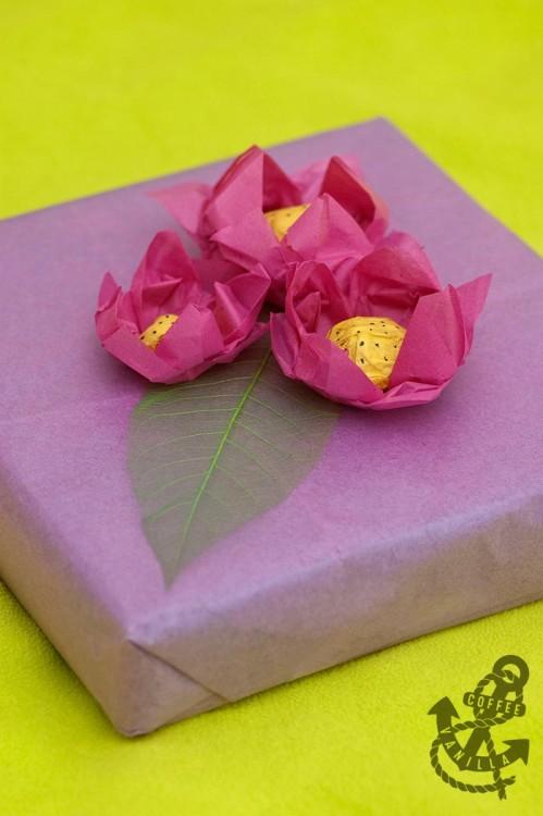tissue paper lotus flower gift wrap