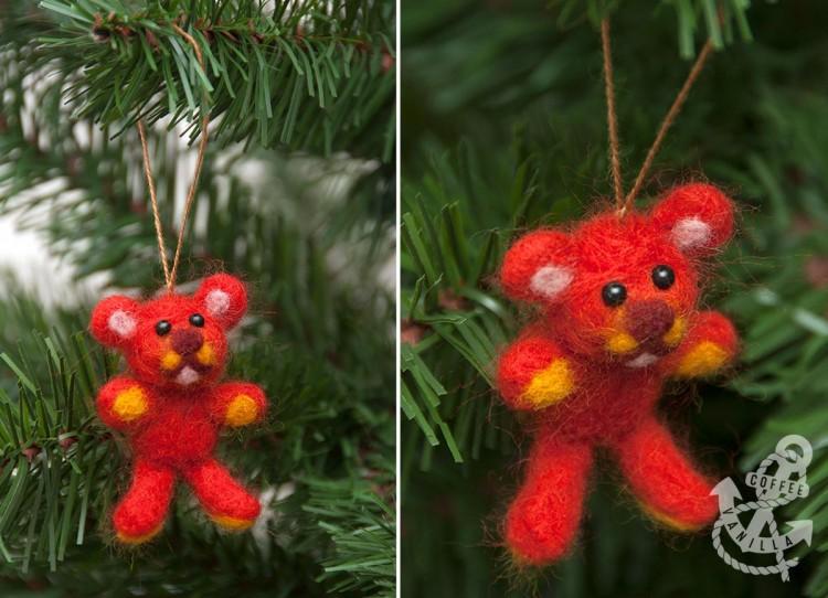 super cute needle felted teddy bear ornament