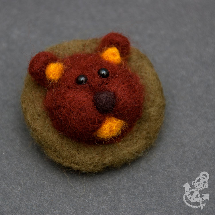 badger brooch made out of merino wool