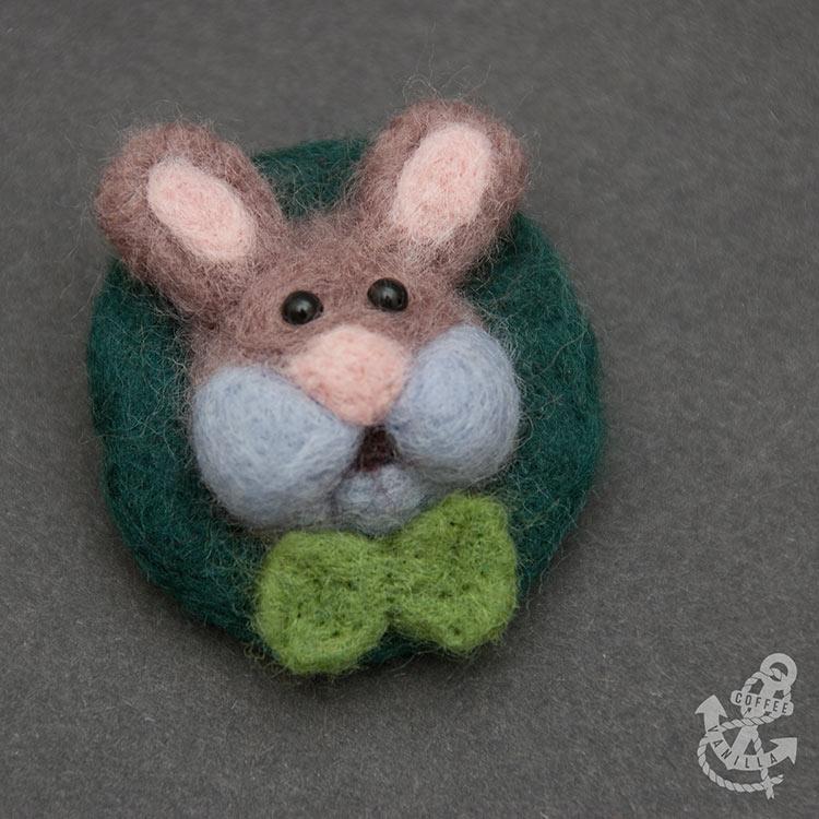 felt accessories - handmade rabbit bunny brooch