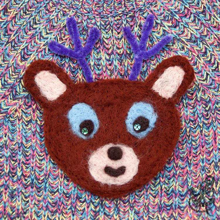 festive woolly jumper with needle felted reindeer tutorial