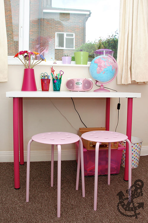 value desk budget desk pink white girls