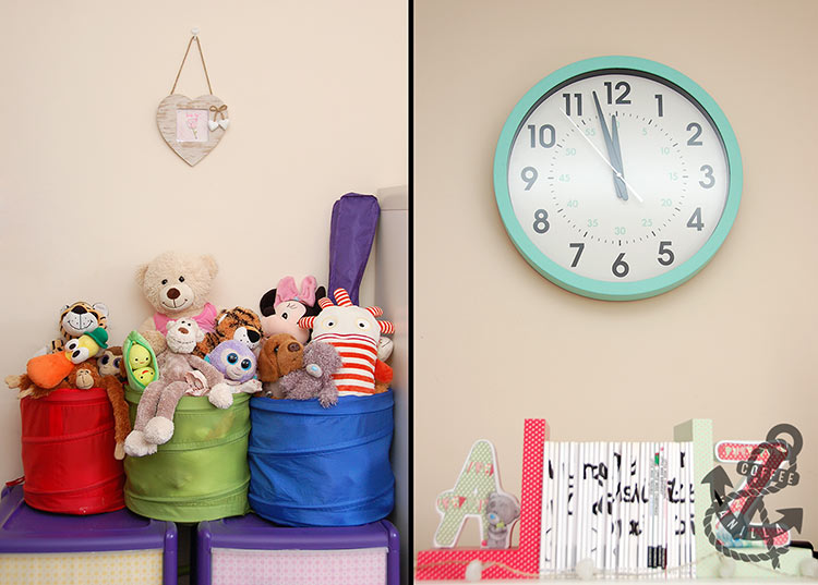 wall clock for kids room soft toy storage idea