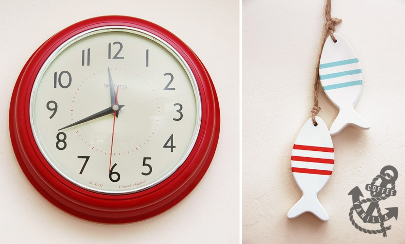 wooden fish decor and retro red wall clock