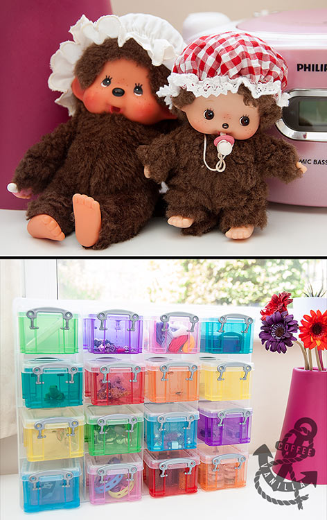 Moncchichi Monchichi Bebichhichi Monchhichi Hobby Craft jar covers Really Useful Box organizer drawers