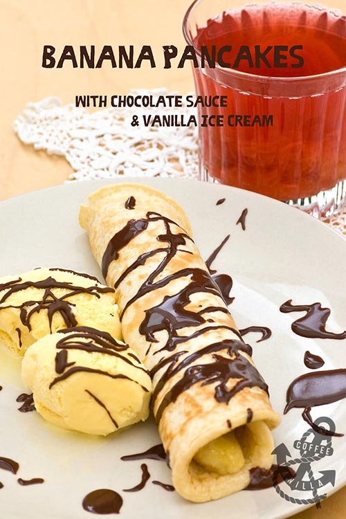 easy pancakes with fried bananas, delicious served with vanilla ice cream and chocolate sauce