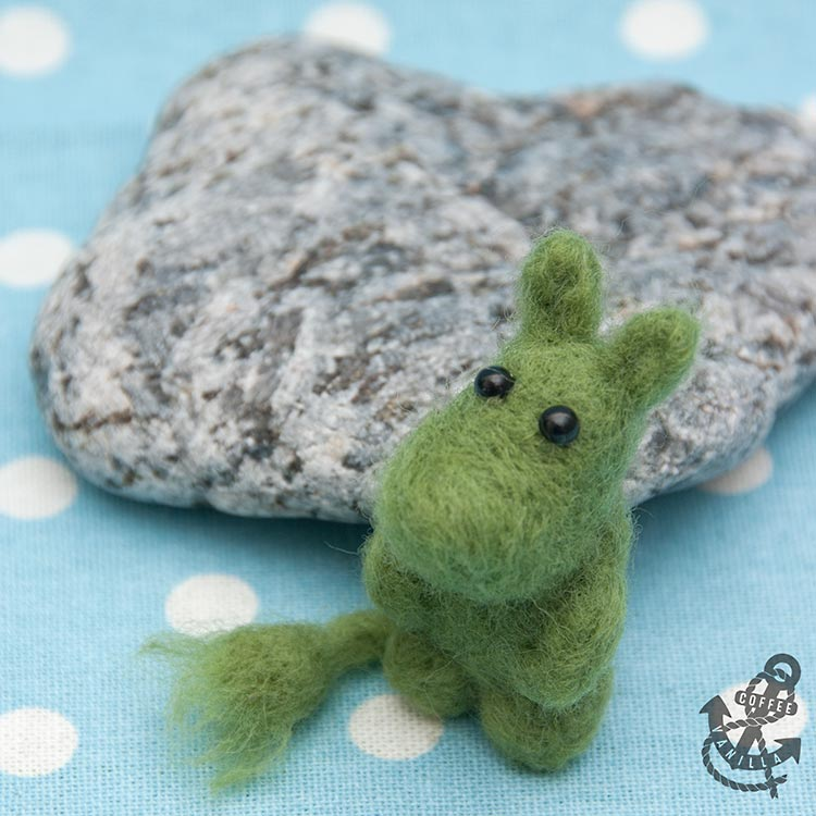 DIY Moomintroll made from felted wool