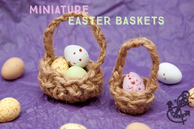 garden twine jute thread miniature Easter baskets for chocolate eggs