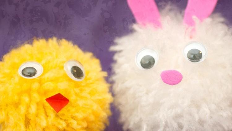 DIY Fork Pom-pom Chicks & Bunnies – Kids' Spring Crafts