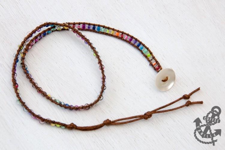 adjustable size wrap bracelet with beads