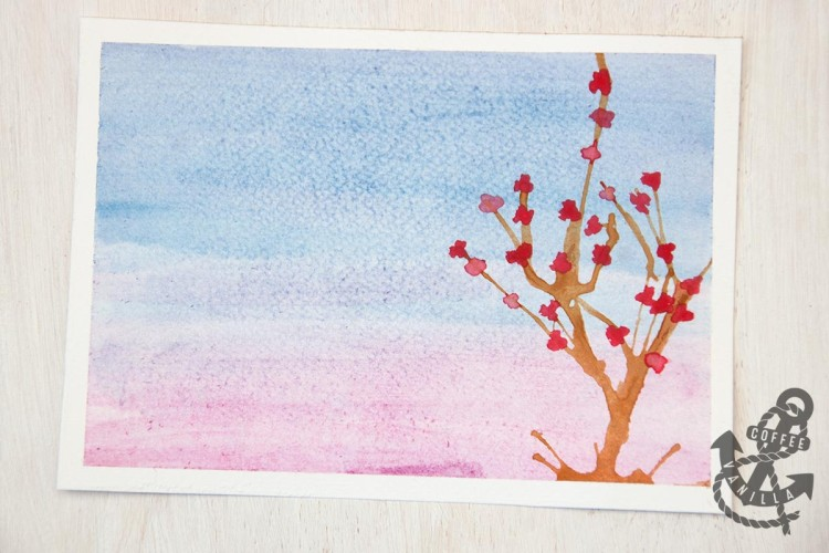 watercolour cherry blossom tree
