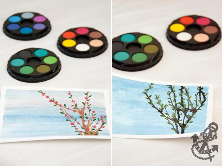 teaching watercolour painting to children