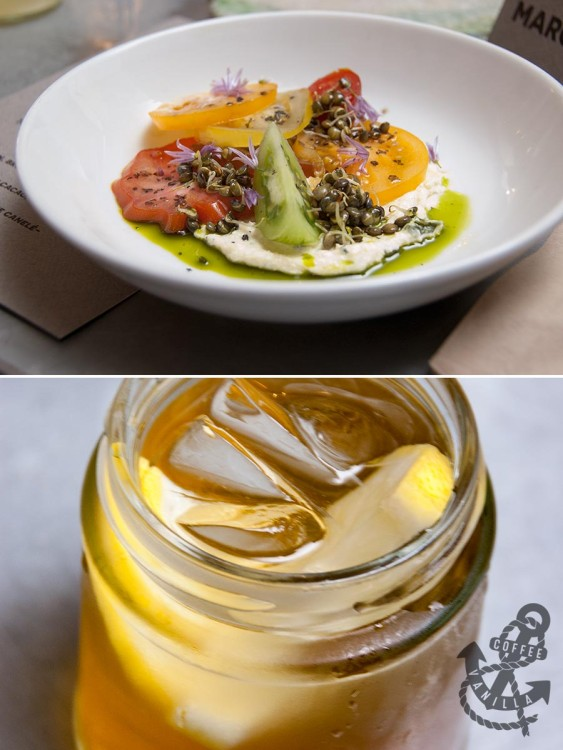 Silo tomato salad and The Old Tree Brewery honey drink with lemon