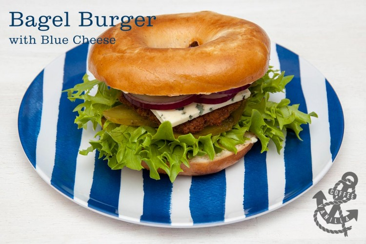 burgers with blue cheese red onion and pickled cucumbers
