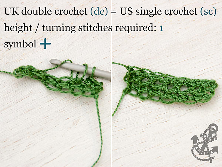 is double crochet the same as single UK double crochet US single crochet