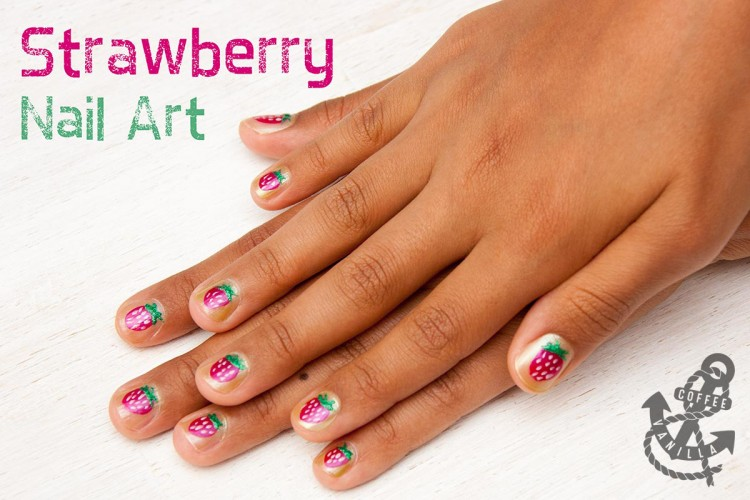 strawberry nail art design for girls