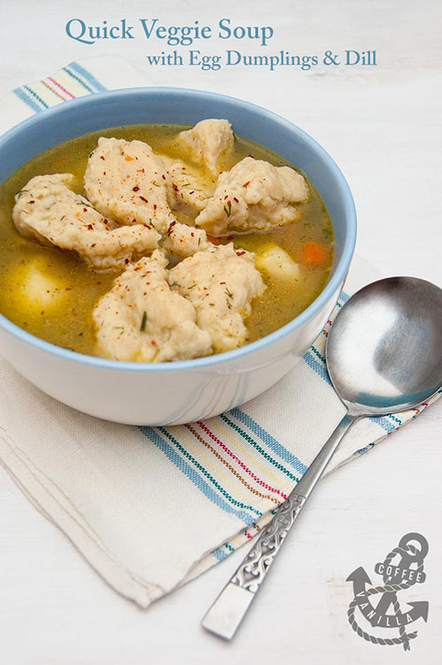 easy vegetarian soup recipe with egg dumplings dill and chilli flakes