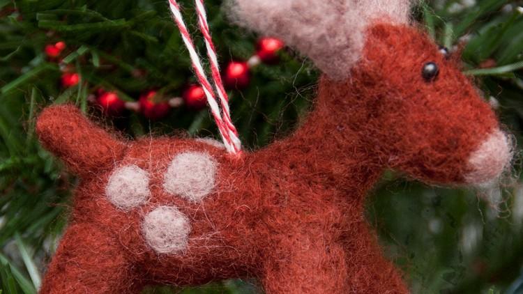 Needle Felted Reindeer Ornament