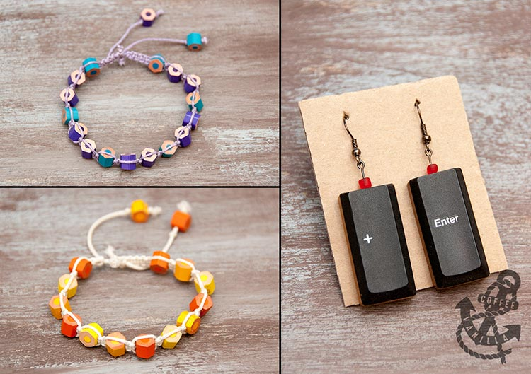 geeky earrings handmade jewellery crayon bracelets