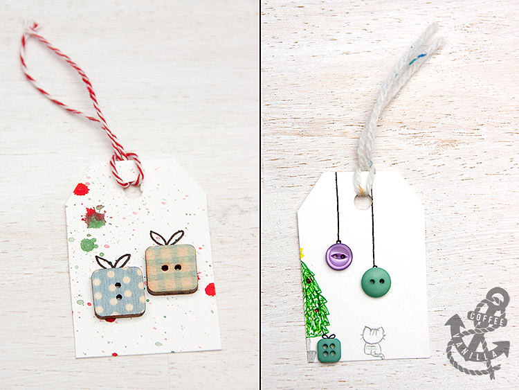handmade diy gift tags with Christmas parcels design