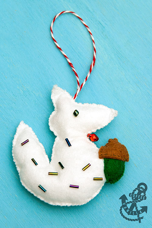 felt fox felt squirrel ornament