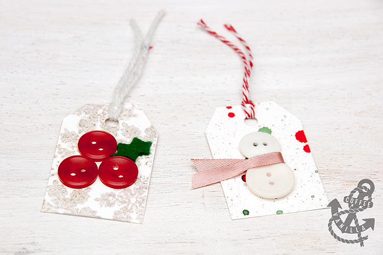 holy ivy snowman snowflake pattern gift tags with buttons