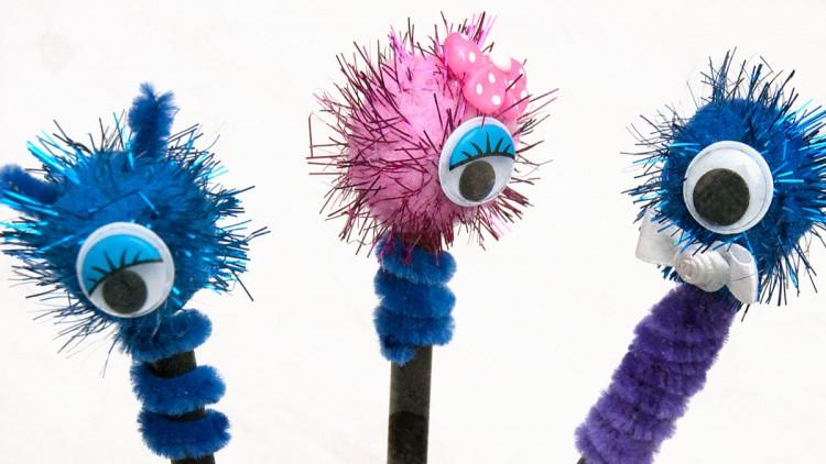 Pom Pom Pencil Toppers – One Eye Monsters