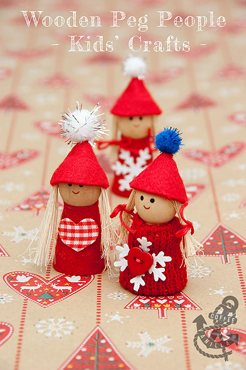 kids crafts wooden peg people
