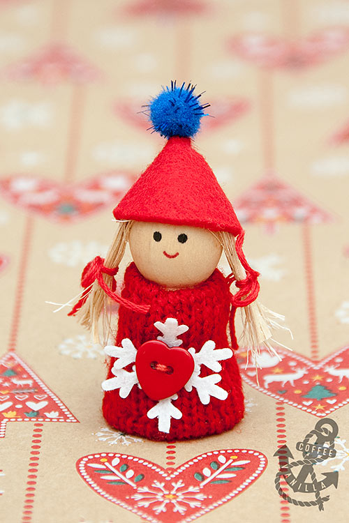 wooden peg Santa girl