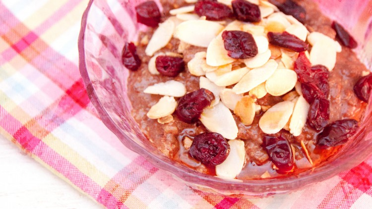 Warm Chocolatey Porridge with Fruits, Seeds & Nuts