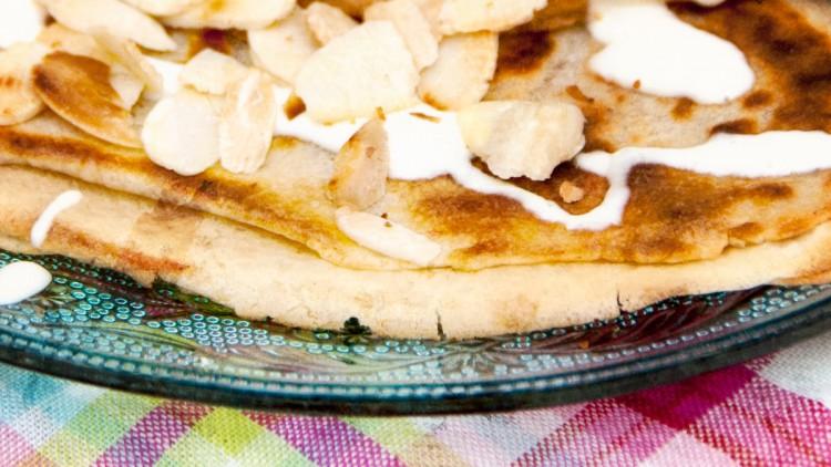 Lemon Curd Pancakes with Cream & Almonds