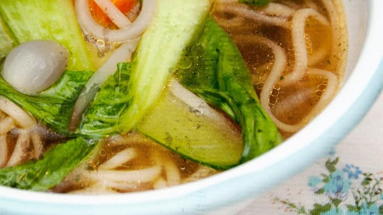 Pak Choi & Noodle Soup with Lemon Grass