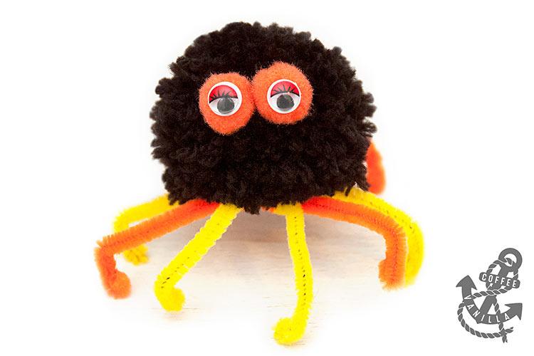 pompom spider kids crafts for Halloween