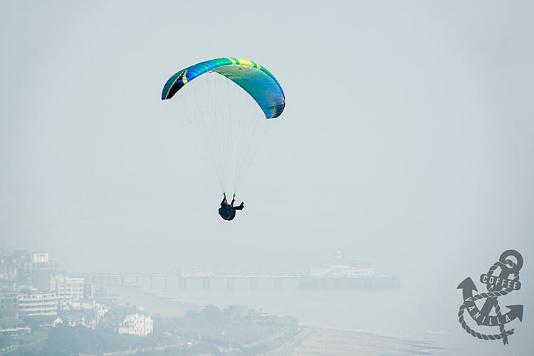 para-glide paragliding para-glider over Beachy Head