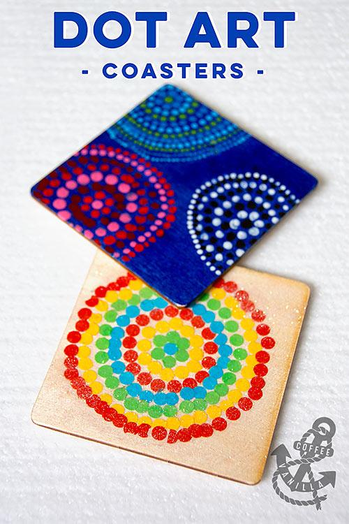 dot art wooden coasters