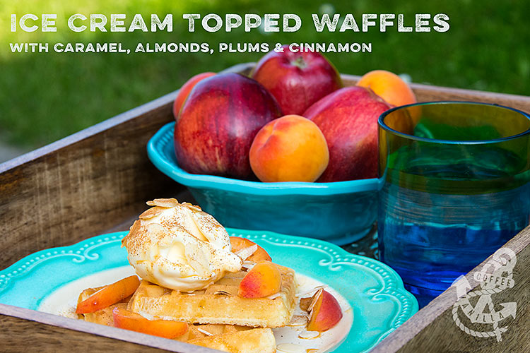 dining alfresco with Homesense breakfast waffles recipe