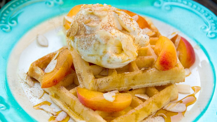 Ice Cream Topped Waffles with Caramel, Almonds, Plums & Cinnamon