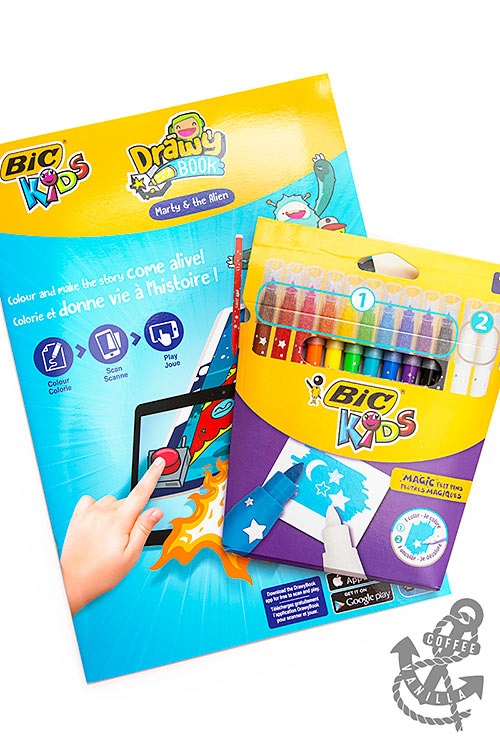 interactive colouring book for kids with magic markers