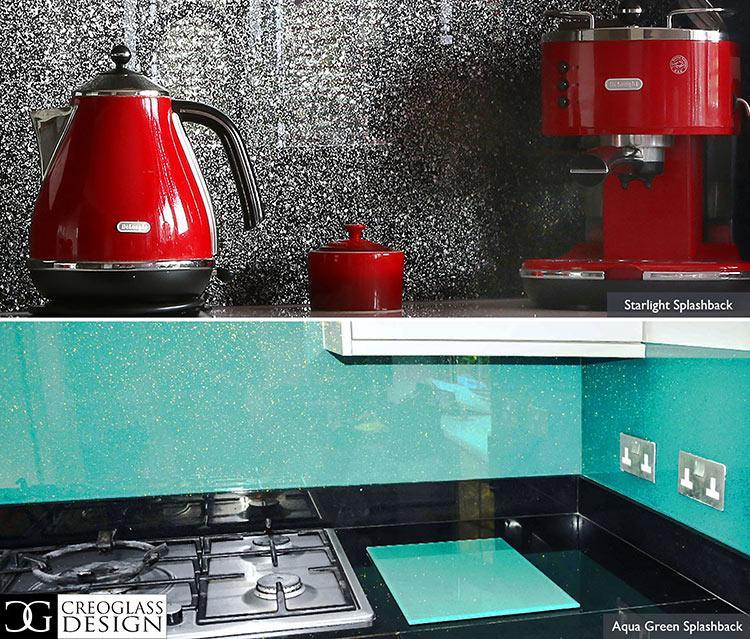 glass backsplash behind stove