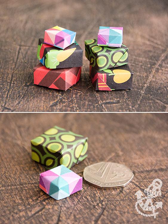 miniature paper boxes Christmas calendar for bigger kids idea