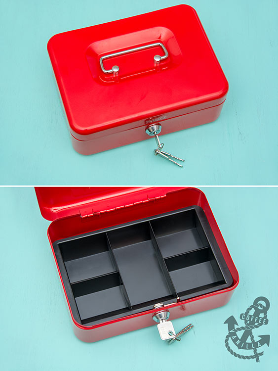 cash storage box with compartments