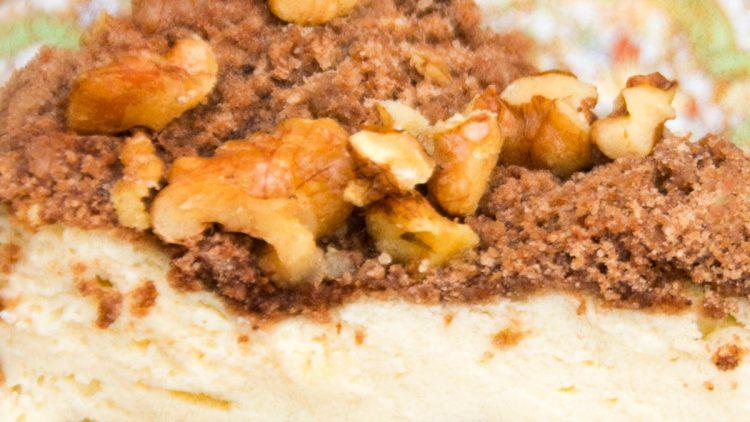 Polish Style Chocolate Crumble & Walnut Cheesecake