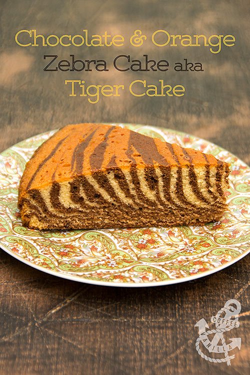 traditional chocolate and orange flavoured stripy zebra cake