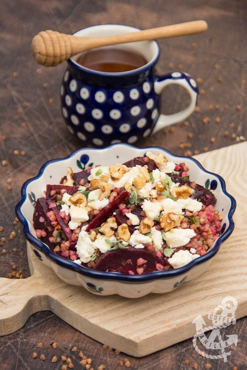 beetroot buckwheat feta walnuts honey salad recipe